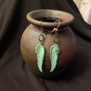 Jewelry - Verdigris Brass Wing Earrings